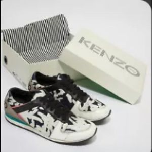 leather Kenzo black and white sneakers